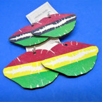 "3"" Wood Earring w/ Rasta Color Lip Theme   .54 per pair"