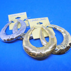 "3"" Oval Metal  Pin Catch Earrings Gold/Silver  .54 per pair"