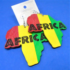 "3""  Wood Earring w/ Rasta Color Africa Map  .54 per pair"