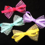 "4"" Net Sparkle 2 Layer Gator CLip Bows 24 per pk Only .27 each"