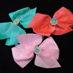 "6"" 2 Layer Gator Clip Bows w/ Sparkle Lace & Stone Center .54 each"