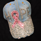 HOPE Pink Ribbon  Stone  Baseball Caps Light Denium sold by pc $ 4.25 each