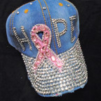 HOPE Pink Ribbon  Stone  Baseball Caps Dark Denium sold by pc $ 4.25 each
