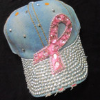 Pink Ribbon  Stone  Baseball Caps Light Denium sold by pc $ 4.25 each