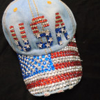 USA Theme  Stone Fashion Baseball Caps Light Denium sold by pc $ 4.25 each