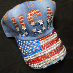 USA Theme  Stone Fashion Baseball Caps Dark Denium sold by pc $ 4.25 each