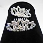 "2.5"" Rhinestone Silver Tiara Comb All Clear Rhinestones (7809) .54 ea"