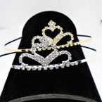 Gold/Silver Rhinestone Tiara Headbands Clear Stones (574) .65 each