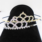 Gold/Silver Rhinestone Tiara Headbands Clear Stones (571) .65 each