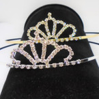 Gold/Silver Rhinestone Tiara Headbands Clear Stones (576) .65 each