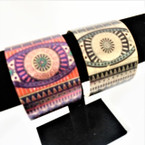 "2"" Wide Metal Open Cuff Fashion Bangles w/ Aztec Pattern .54 each"