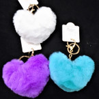 "4"" Faux Fur Heart Shaped Keychain w/ Clip Asst Colors .56 each"