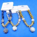 8MM Large Crystal Bead Bracelets w/ Fireball Beads .60 each