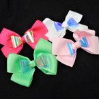 "4.5"" Asst Color Gator Clip Bows w/ Hologram Center 24 per pk ONLY .35 each"