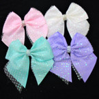 "5.5"" X 5.5"" Tail Gator Clip Bows w/ Glitter Lace & Crystal Center .55 each"