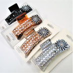 "3.5"" Acrylic Stone Jaw Clips w/ Crystal Stone Flowers .56 each"