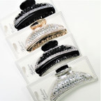 "3.25"" Acrylic & Clear Crystal Stone Fashion Jaw Clips  .56 each"