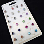 12 Pair Birthstone Crystal Earrings  12 pair card .56 each