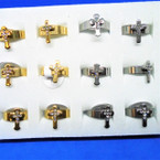 Gold/Silver Band Ring w/ Cry. Stone Cross  Stainless Steel 12 per bx .54 each