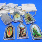 Church  Shaped Silver Metal Saint Photo Keychains .54 each