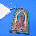 Wood Carved Guadalupe Keychains 12 per pack   .56 each