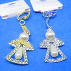 "1.75"" Gold & Silver Angel Keychains w/ Cry. Stones & Pearl .58 each"