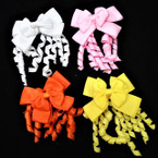 "3.5"" 2 Layer  Gator Clip Bows w/ Dangle Curly Ribbons 24 per pk .29 each"