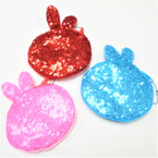 "4.5"" Sequin Bunny Ear Zipper Coin Purses Asst Colors .56 each"