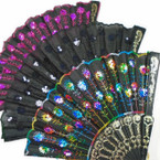 "9"" Asst Color Sequin Hand  Fan  w/ Black Handle  12 per pk  .56 ea"
