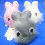 "3"" Faux Fur Bunny Fury Keychains w/ Sparkle Ears & Silly Eyes  12 per pk .56 ea"