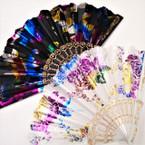 """9"""" Tropical Metallic Flower Print  Hand  Fan Blk/White   12 per pk  .54 ea"""