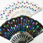 "9"" Multi Color  Sequin Fashion Hand  Fan  Black & White  12 per pk  .56 ea"