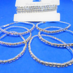 Special 3 Pack Silver Rhinestone Tennis Bracelets AB/Clear Stones .55 per set