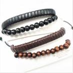 2 Pk Teen Leather Bracelet Plus Wood Bead Bracelet  .55 per set