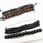 2 Pk 2 Strand Teen Leather Bracelet Plus Wood Bead Bracelet  .55 per set