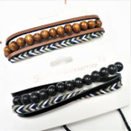 4 Strand Teen Leather Bracelet Plus Wood Beads  .55 each