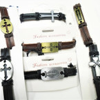 Teen Leather Bracelet w/ 6 Style Crosses Gold & Silver .55 each