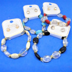 Semi Precious Stone & Clear Crystal Bead Bracelet Sets   .56 each