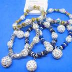 Metallic Crystal & Fireball Bead Bracelets w/ Crystal Fireball Charm  .56 each