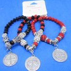 3 Color Mix St. Benito Charm Bracelets w/ Fireball Beads   .56 each