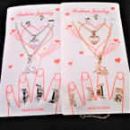 Combo Necklace,Bracelet,Toe Rings Set w/ Heart/Love Pend .56 per set