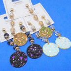 "2.5"" Sparkle Earring w/ Dangle  Crystal Beads .54 per pair"