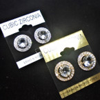 Round Gold & Silver Cubic Stone Earring w/ Mini Crystals .54 per pair
