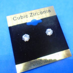 5MM Gold Prong Clear Cubic Stone Earrings .54 per pair