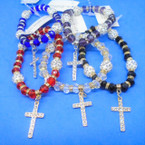 Crystal & Fireball Ball Stretch Bracelets w/ Cry. Stone Cross .56 each