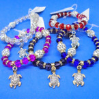 Crystal & Fireball Ball Stretch Bracelets w/ Cry. Stone Turtle Charm .56 each