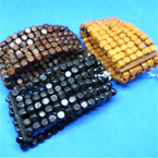 "1.5"" Wide 6 Strand Wood Stretch Bracelets 3 colors .49 each"