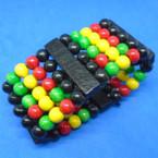 "1.5"" Wide 5 Strand Wood Stretch Bracelets Rasta colors .54 each"