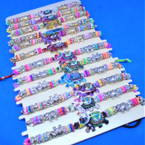 Beaded Cord  Bracelets w/ Gold,Silver & Colorful Elephant 12 per card .54 each
