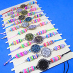 Beaded Cord  Bracelets w/ Round Sparkle Center Disc 12 per card .54 each